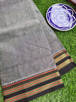 Gray south cotton narayanpet saree with Black border
