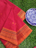 Red south cotton narayanpet saree with mustard resham border & small booties allover