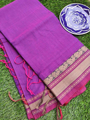Purple south cotton narayanpet saree with red & cream elephant resham border