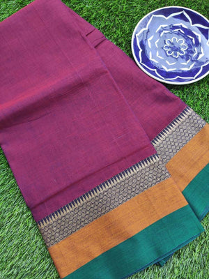 Purple south cotton narayanpet saree with green & mustard border