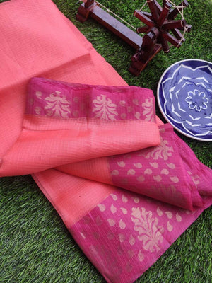 Lightweight pure kota silk in peach with zari & pink border