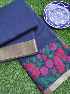 Supernet Kota in navy blue with multicolor flowers border