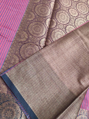 Vertical lines of red & blue chanderi saree with zari border, brocade anchal and blouse