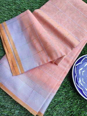 Broad checks of silver on peach orange linen saree & silver zari border