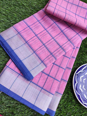 Broad checks of blue on pink linen saree & silver zari border