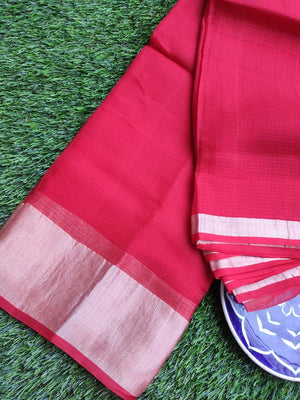 Lightweight pure kota silk in plain bright red with small golden border