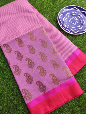 Onion pink chanderi saree with paisley zari booties and solid border