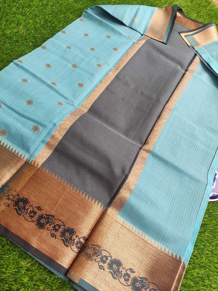 Blue kota saree with golden zari weaving and booties all over
