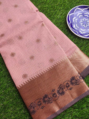 Antique gold border with black resham on dull peach kota saree