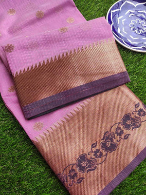 Antique gold border with black resham on dull pink kota saree
