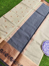 Antique gold border with black resham on dull green kota saree