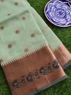 Antique gold border with black resham on light green kota saree