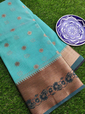 Antique gold border with black resham on sea green kota saree