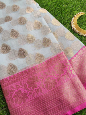 Light blue kora saree with pink border and golden booties