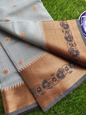 Antique gold border with black resham on dull blue kota saree