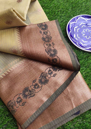 Antique gold border with black resham on dull yellow kota saree