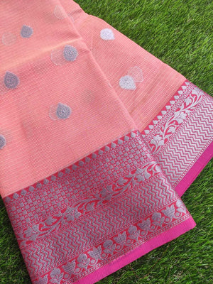 Silver border on peach kota saree with silver booties allover