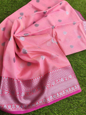 Silver border on Pink kota saree with silver booties allover