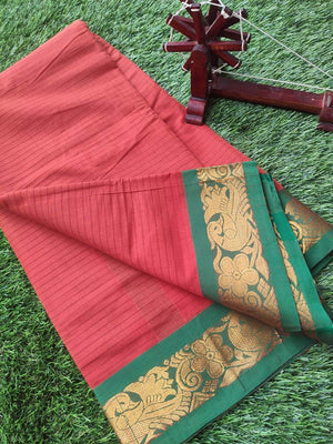 Rust orange narayanpet south cotton saree with small checks and green zari border