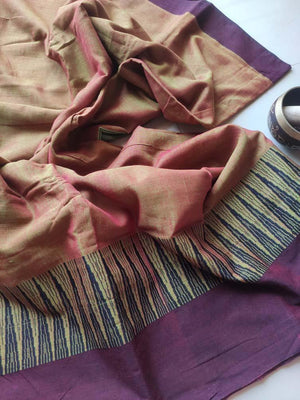 Mustard narayanpet south cotton saree with black & maroon resham border