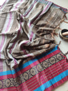Brown narayanpet south cotton saree with maroon resham border