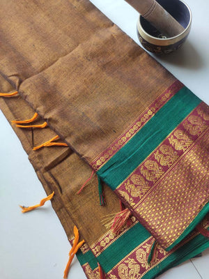 Mustard yellow narayanpet south cotton silk with zari peacock border