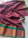 Maroon narayanpet south cotton silk with zari peacock border