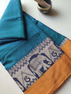 Turquoise blue narayanpet south cotton saree with mustard & resham elephant border