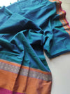 Turquoise green narayanpet south cotton saree with mustard and red border