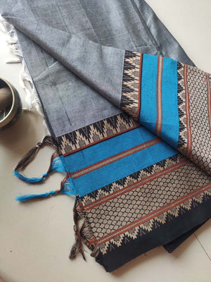 Grey melange narayanpet south cotton saree with blue and black border