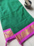 Green narayanpet south cotton saree with small checks and pink zari border