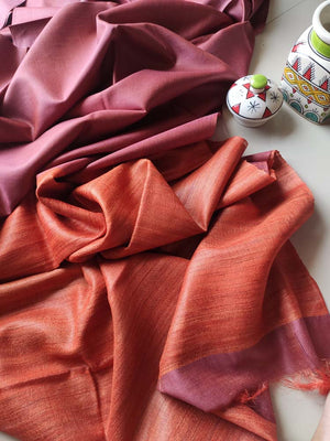 Mauve moonga/munga silk with pure tusser dull orange aanchal and striped blouse