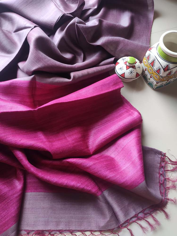 Gray moonga/munga silk with pure tusser Magenta aanchal and striped blouse