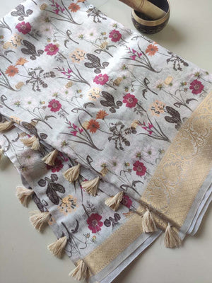 Greyish White with digital floral printed cotton linen saree with golden zari border
