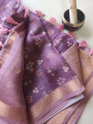 Reddish brown digital floral printed cotton linen saree with golden zari border