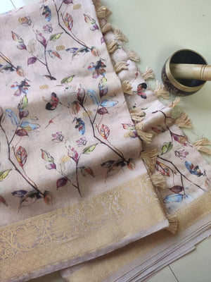 Peach with digital floral printed cotton linen saree with golden zari border