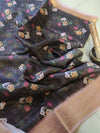 Dark brown with digital floral printed cotton linen saree with golden zari border