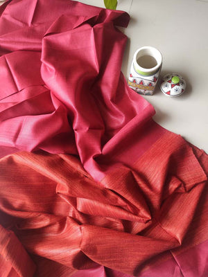 Red moonga/munga silk with pure tusser reddish orange aanchal and tusser blouse
