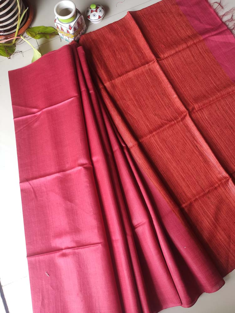 Maroon moonga/munga silk with pure tusser rust orange aanchal and tusser blouse
