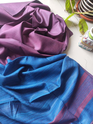 Mauve moonga/munga silk with pure tusser blue aanchal and striped blouse