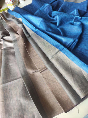 Shaded brown moonga/munga silk with pure tusser blue aanchal and striped blouse