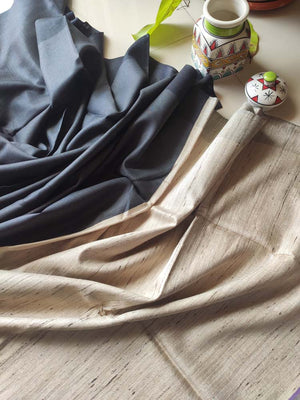 Black border on dark grey moonga/munga silk with pure tusser aanchal and tusser blouse