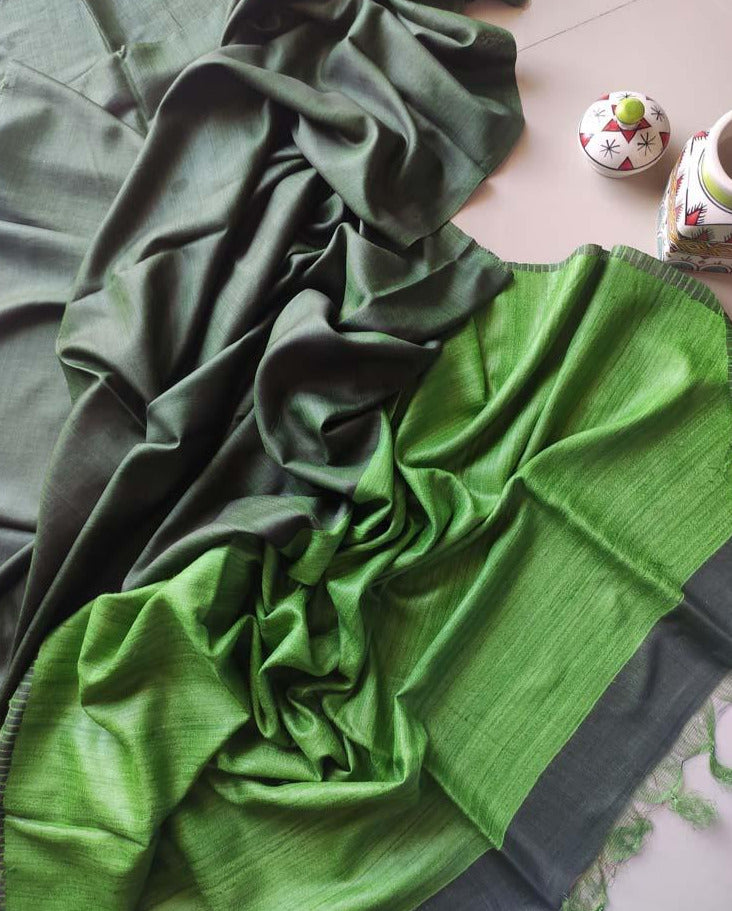 Green moonga/munga silk with pure tusser light green aanchal and striped blouse