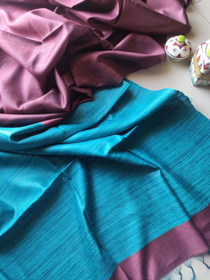 Mauve moonga/munga silk with pure tusser sky blue aanchal and striped blouse