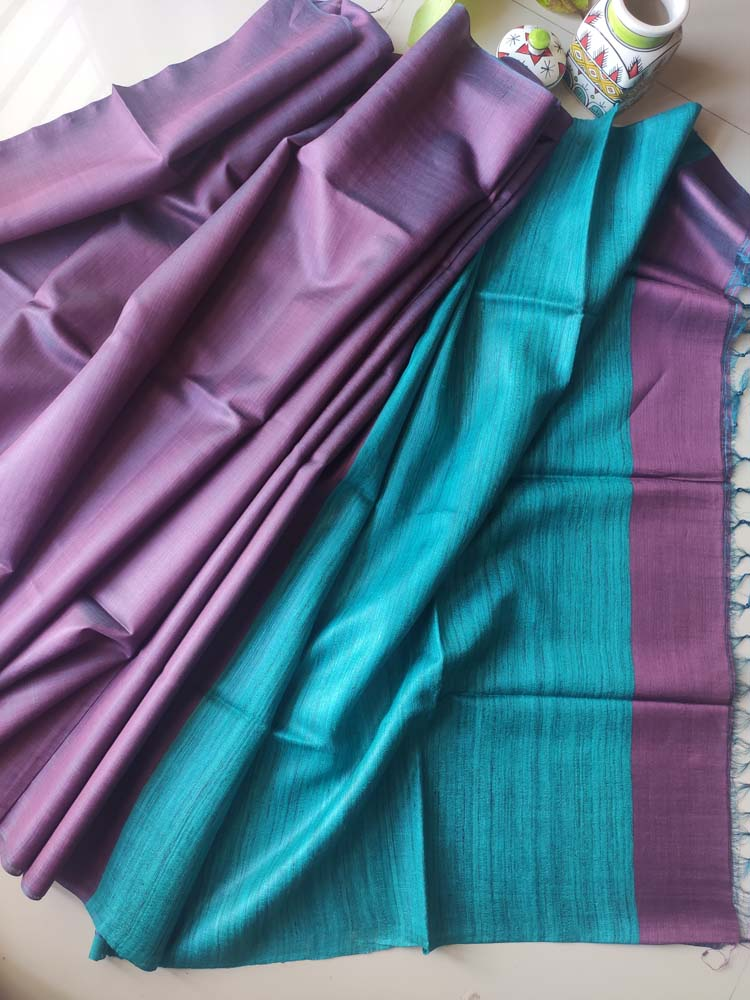 Mauve munga silk with turquoise pure tusser aanchal and striped tusser blouse