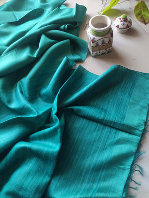 Dark green munga silk with pure tusser aanchal and striped tusser blouse