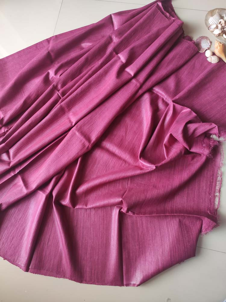 Dark mauve/pink plain borderless bhagalpuri pure tussar saree with blouse