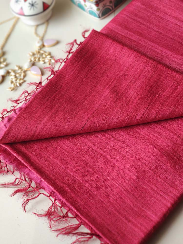Magenta pink moonga/munga silk with pure tusser red aanchal and striped blouse