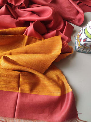Rust orange moonga/munga silk with pure bright yellow aanchal and tusser blouse