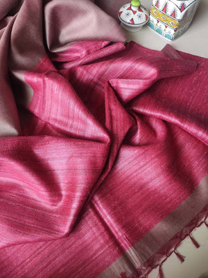 Greyish brown moonga/munga silk with pure tusser dark red aanchal and tusser blouse